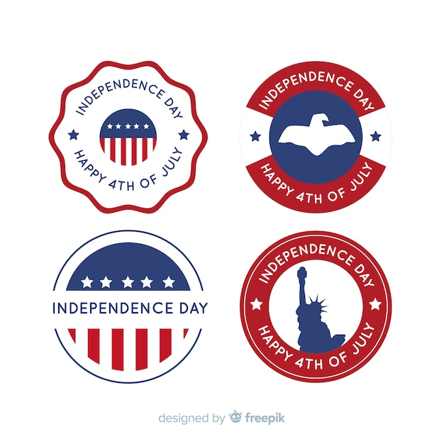 Collection de badges du 4 juillet Vecteur gratuit