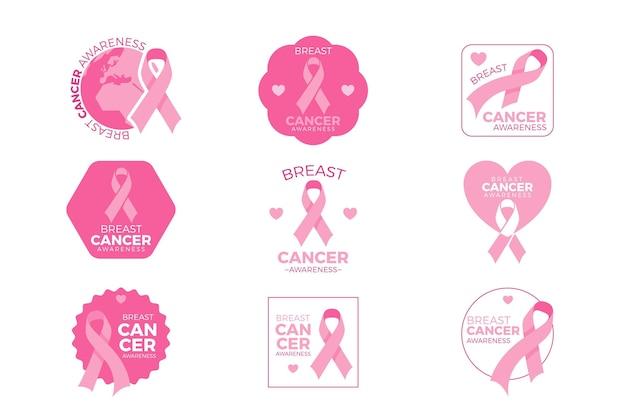 Collection De Badges Du Mois De Sensibilisation Au Cancer Du Sein Vecteur Premium