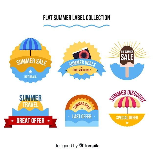 Collection de badges d'été Vecteur gratuit