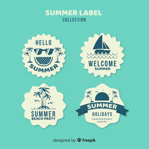 Collection de badges d'été Vecteur gratuit