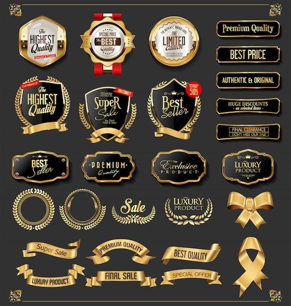 Collection de badges et étiquettes doré vintage rétro Vecteur Premium