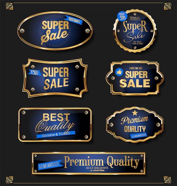 Collection de badges et étiquettes rétro Vecteur Premium