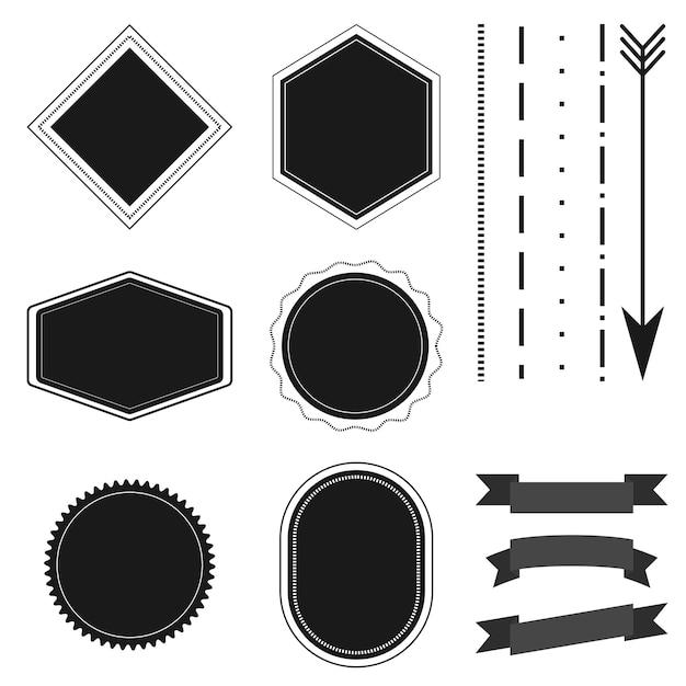 Collection de badges, étiquettes, rubans et flèches rétro vintage Vecteur Premium