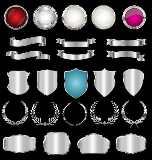 Collection de badges et étiquettes vintage rétro argentés Vecteur Premium