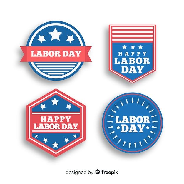 Collection de badges de fête du travail Vecteur gratuit