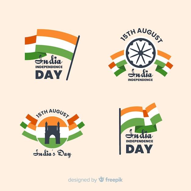 Collection de badges fête de l'indépendance plat inde Vecteur gratuit