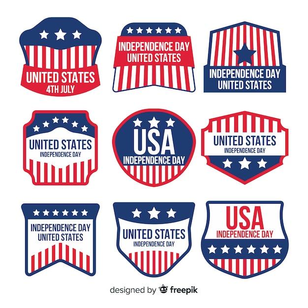 Collection de badges de fête de l'indépendance Vecteur gratuit