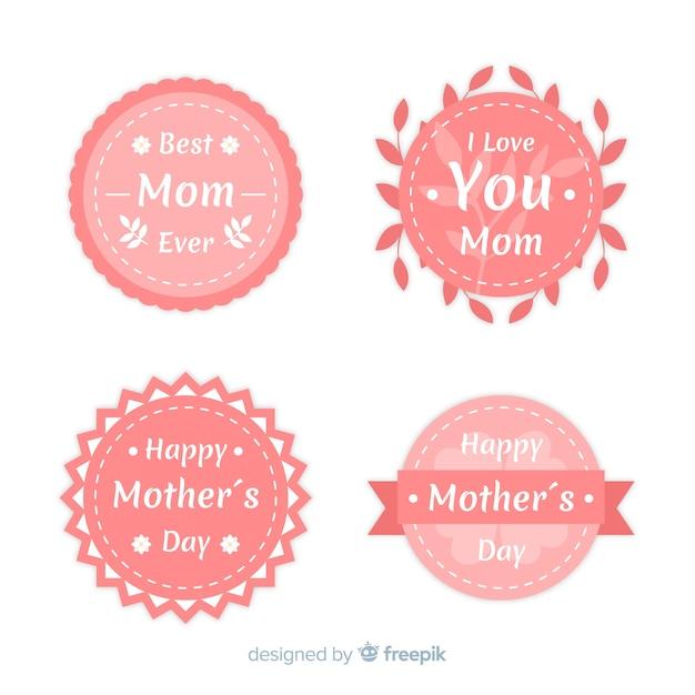 Collection de badges fête des mères Vecteur gratuit