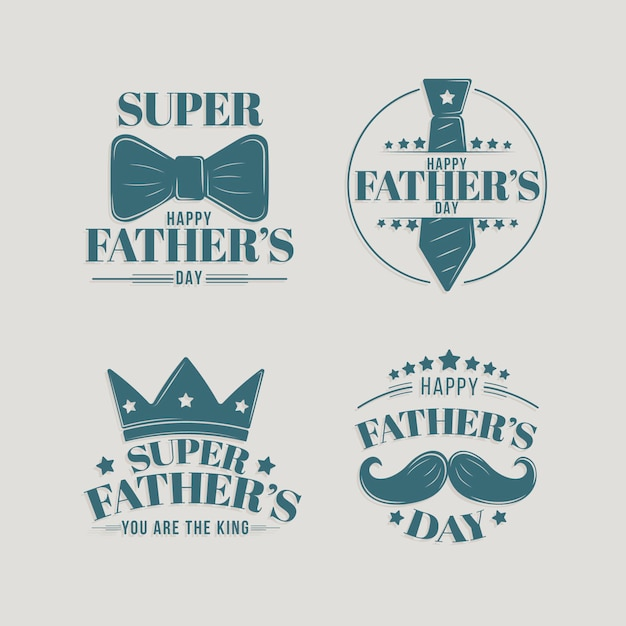 Collection De Badges De Fête Des Pères Design Plat Vecteur Premium