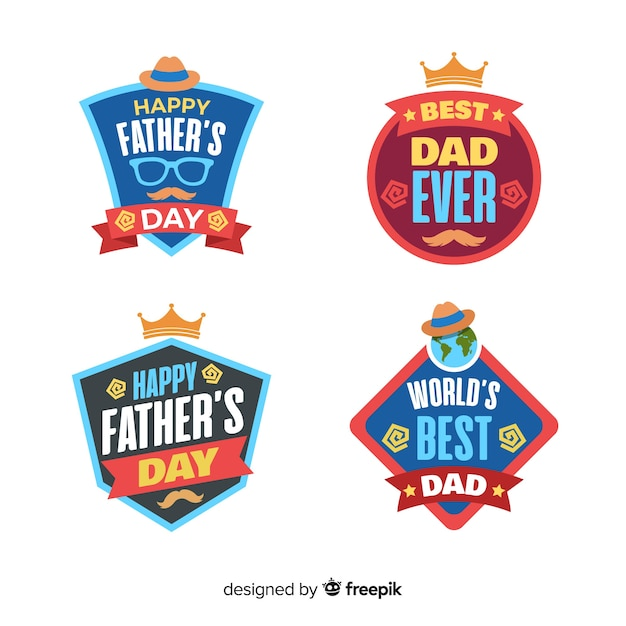 Collection de badges fête des pères Vecteur gratuit