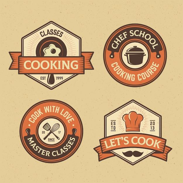 Collection de badges food and cook Vecteur Premium