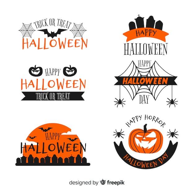Collection de badges halloween au design plat Vecteur gratuit