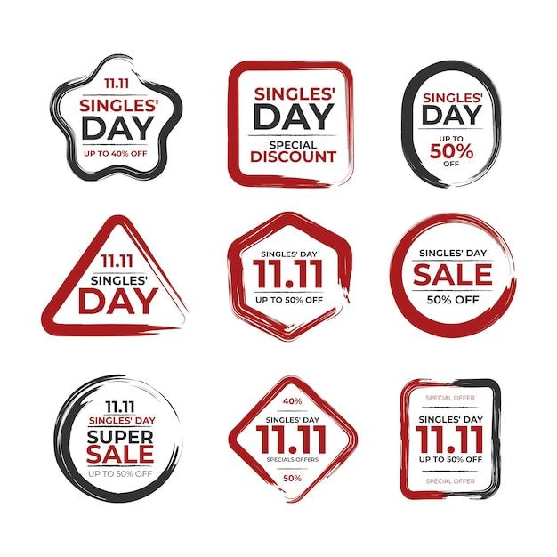 Collection De Badges De Jour Pour Célibataires Vecteur gratuit