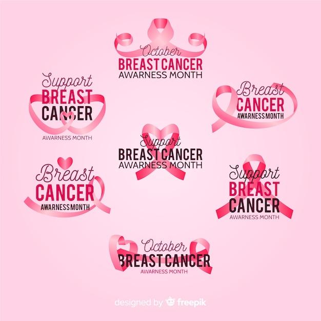 Collection de badges de la journée internationale de la sensibilisation au cancer du sein Vecteur gratuit