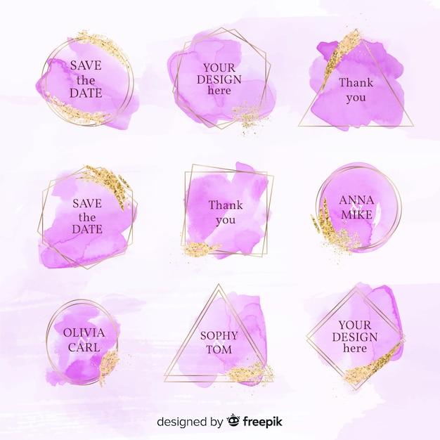 Collection de badges de mariage aquarelle Vecteur gratuit
