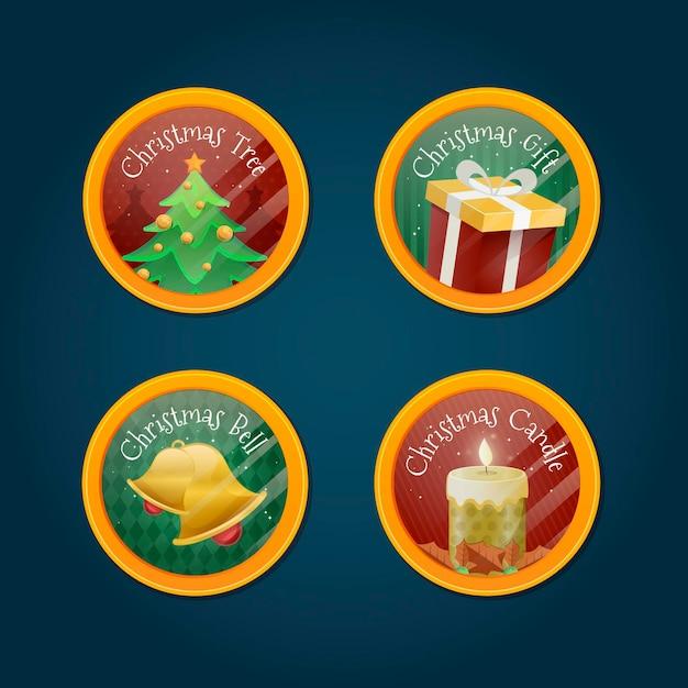 Collection De Badges De Noël Au Design Plat Vecteur gratuit