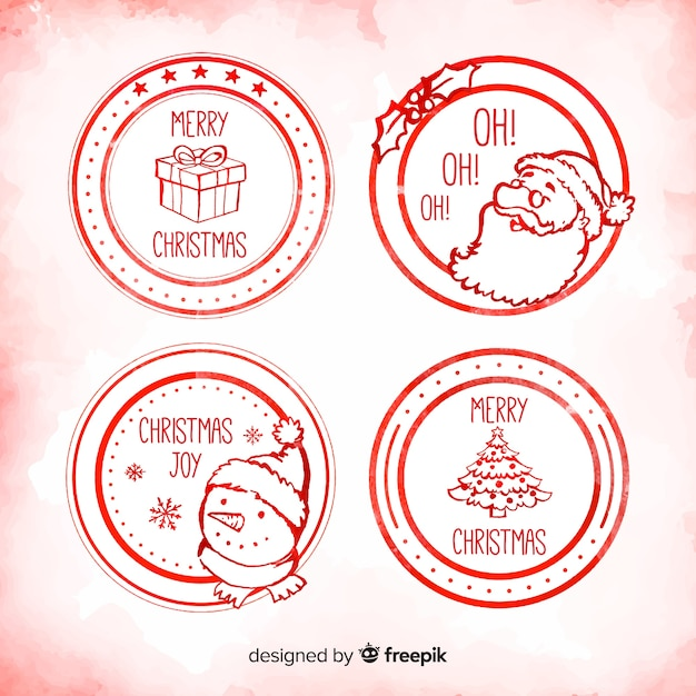 Collection De Badges De Noël Dessinés à La Main Cercle Vecteur gratuit