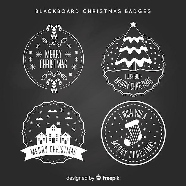 Collection de badges de noël tableau noir Vecteur gratuit