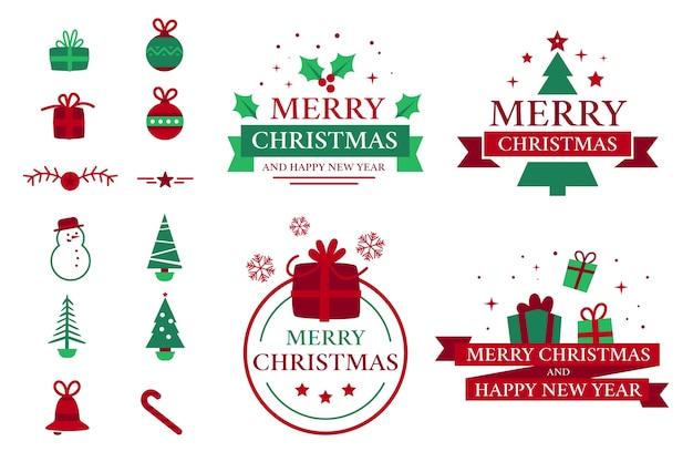 Collection De Badges De Noël Vecteur gratuit