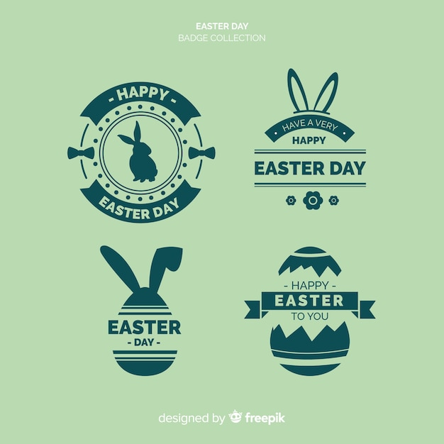 Collection de badges plats du jour de pâques Vecteur gratuit