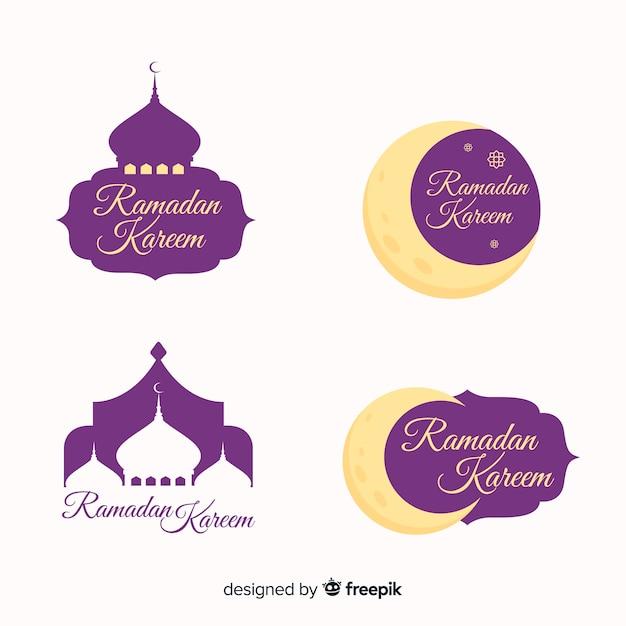 Collection de badges ramadan plats Vecteur gratuit