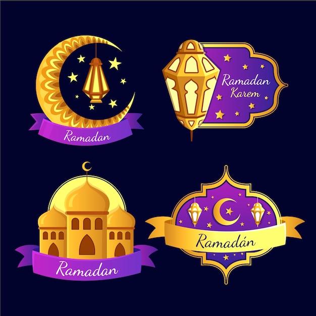Collection De Badges Avec Ramadan Vecteur gratuit