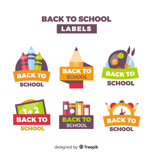 Collection De Badges De Retour à L'école Vecteur gratuit