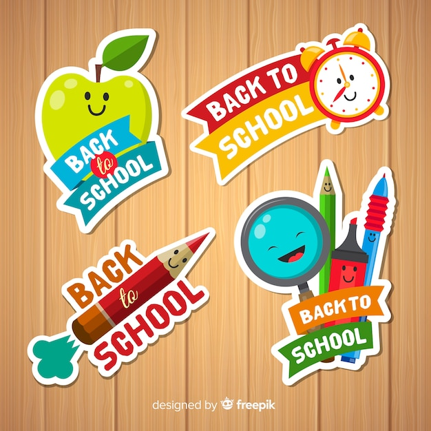 Collection de badges de retour à l'école Vecteur gratuit