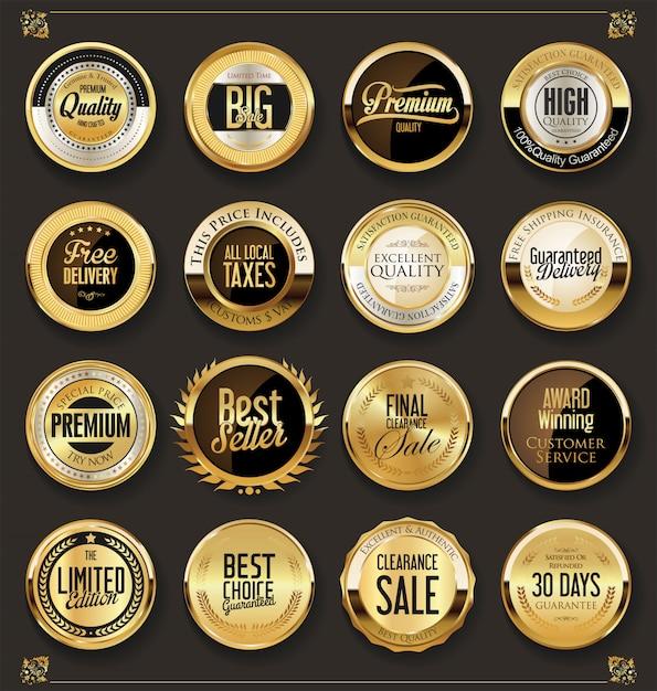Collection de badges rétro de luxe en or et argent Vecteur Premium