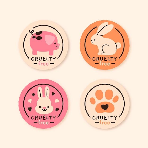 Collection De Badges Sans Cruauté Dessinés à La Main Vecteur gratuit