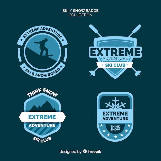 Collection de badges de ski et de neige Vecteur gratuit