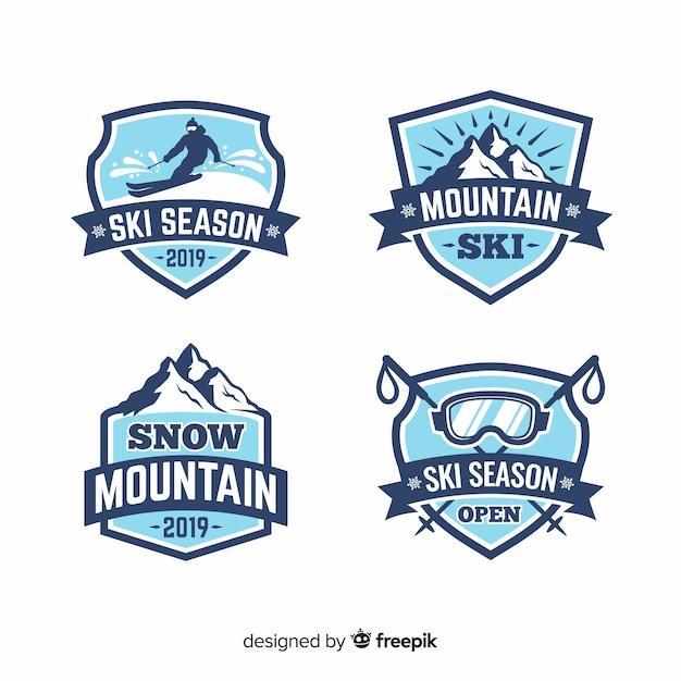 Collection de badges ski plat et neige Vecteur gratuit