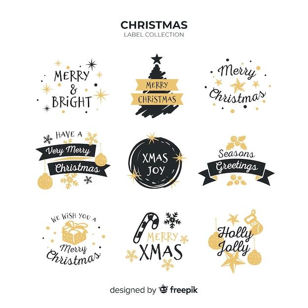 Collection De Badges De Souhaits De Noël Vecteur gratuit