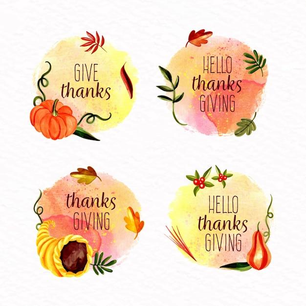 Collection De Badges De Thanksgiving à L'aquarelle Vecteur gratuit
