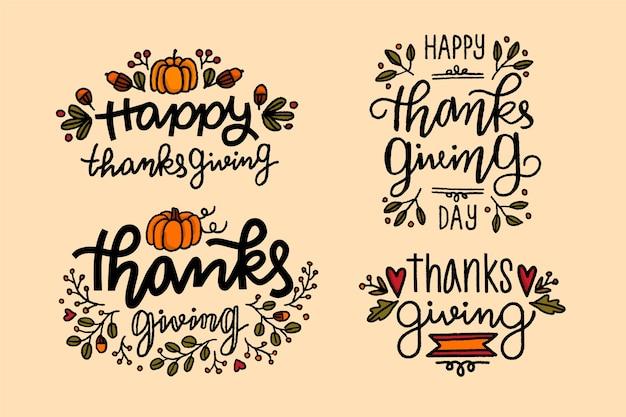 Collection De Badges De Thanksgiving Dessinés à La Main Vecteur gratuit