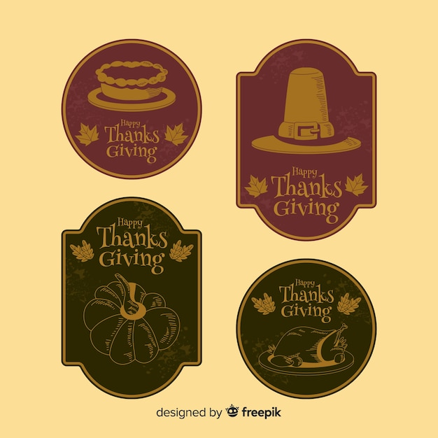 Collection de badges de thanksgiving vintage Vecteur gratuit