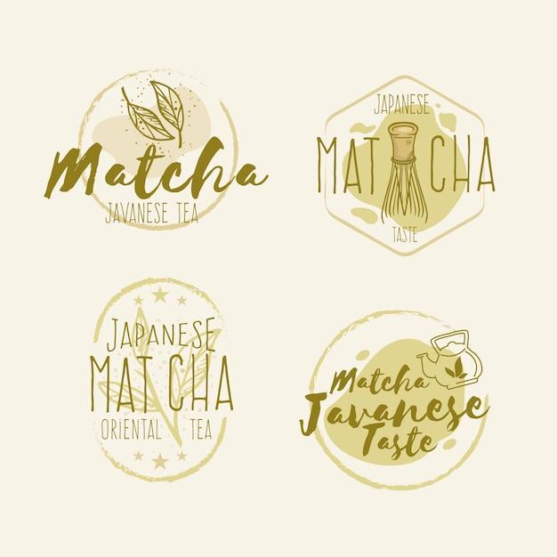 Collection De Badges De Thé Matcha Vecteur gratuit