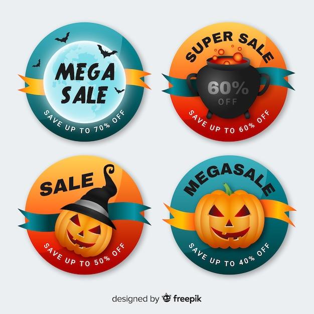 Collection de badges de vente halloween ronde Vecteur gratuit