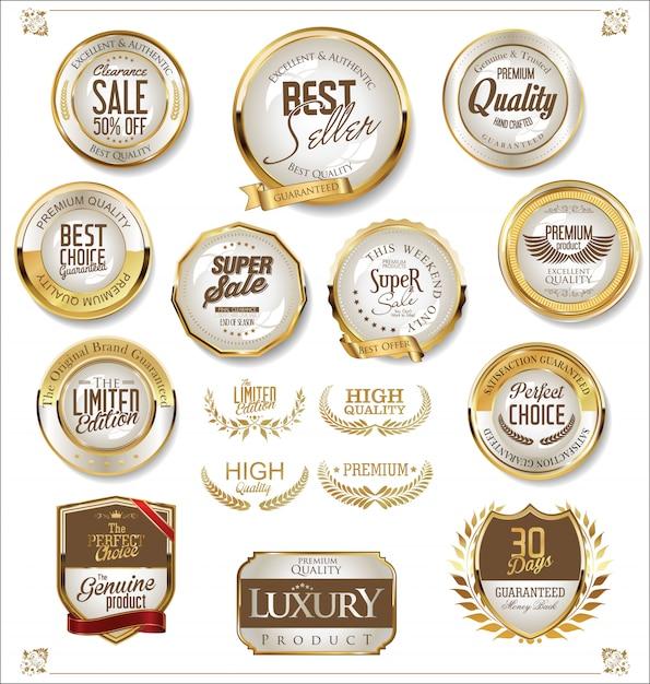 Collection de badges de vente rétro doré Vecteur Premium