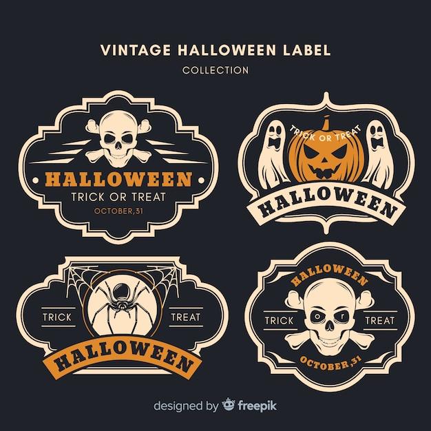 Collection de badges vintage halloween Vecteur gratuit