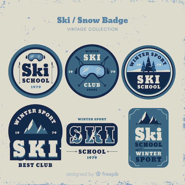 Collection de badges vintage ski et neige Vecteur gratuit