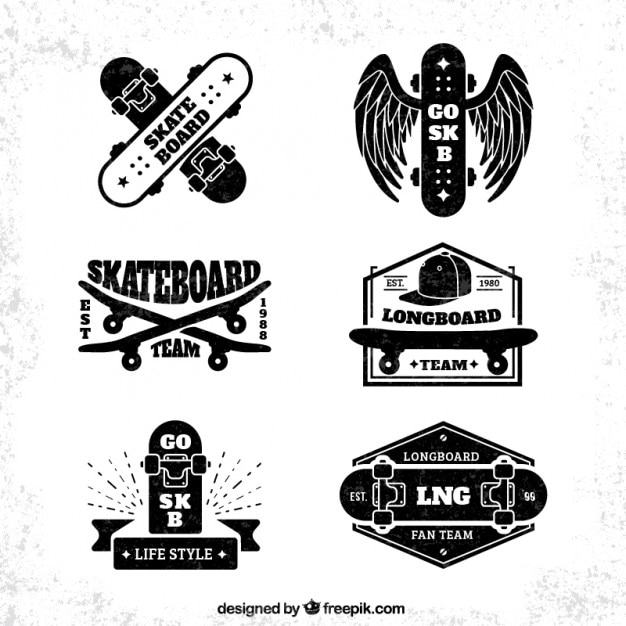Collection bage skateboard Vecteur gratuit