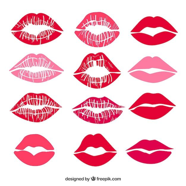 Collection de baisers de rouge à lèvres en rouge et rose Vecteur gratuit