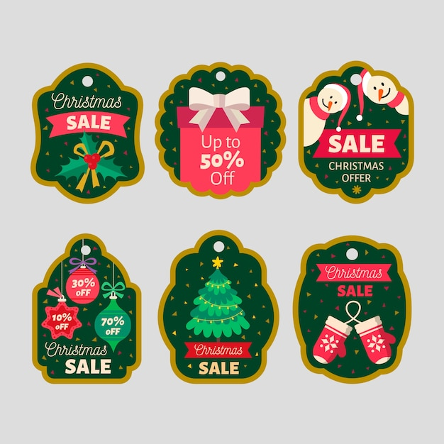 Collection De Balises De Vente De Noël Design Plat Vecteur gratuit