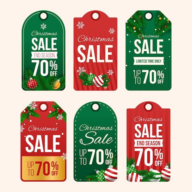 Collection De Balises De Vente De Noël Réalistes Vecteur gratuit