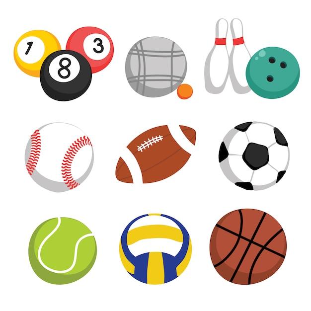 Collection de balles de sport Vecteur gratuit