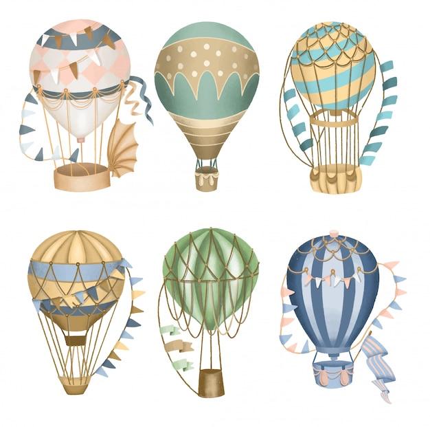 Collection De Ballons à Air Chaud Rétro, Dessinés à La Main Isolés. Vecteur Premium
