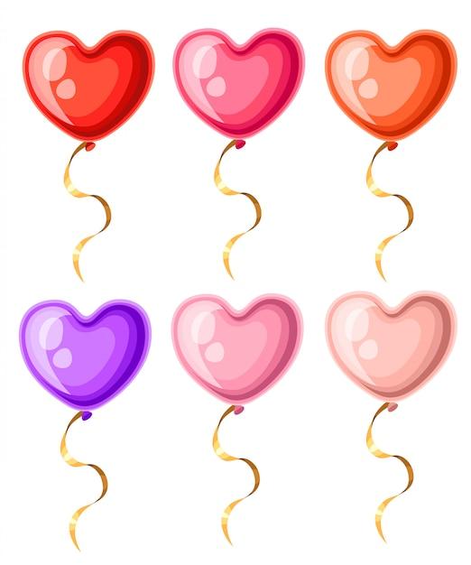 Collection De Ballons En Forme De Coeur Avec Des Rubans Dorés Illustration De Ballon De Différentes Couleurs Sur La Page Du Site Web Fond Blanc Et Application Mobile Vecteur Premium
