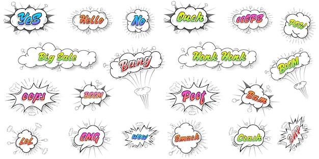 Collection De Bandes Dessinées Couleur Chat Sonore Effets De Texte Style De Vecteur D'art Pop Art. Police 3d. Vecteur Premium