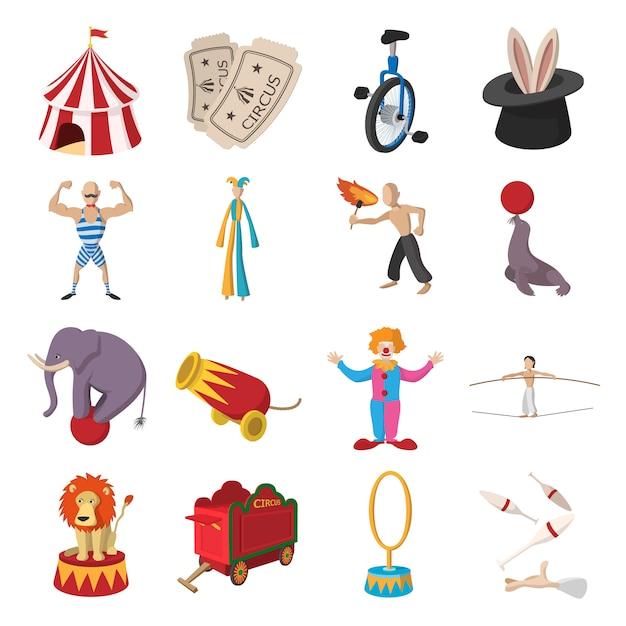 Collection de bandes dessinées d'icônes de spectacle de cirque Vecteur Premium